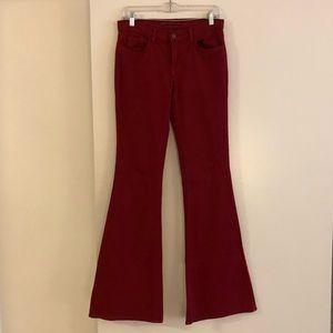 J Brand red bell bottom jeans